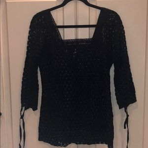 Beach Lace Crochet Black Cover Up